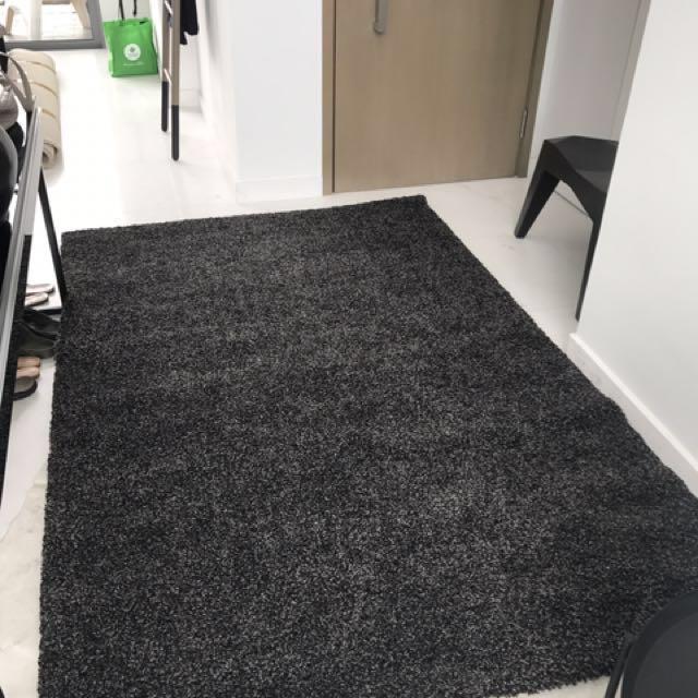IKEA Alhede High Pile Black Rug