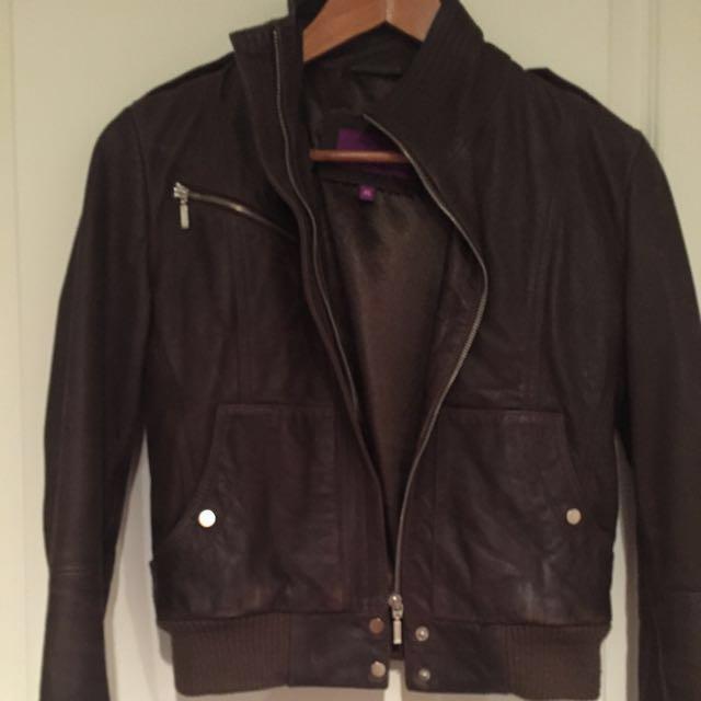 Leather Bomber Jacket XS