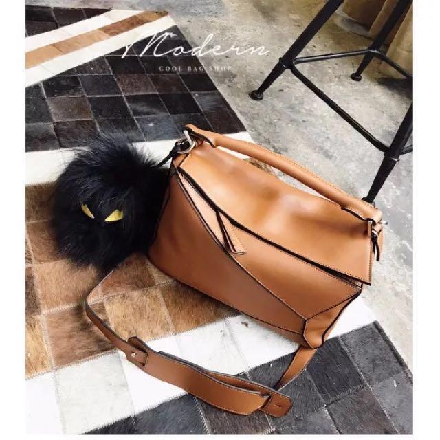 Loewe Inspired Puzzle Bag Large Tan