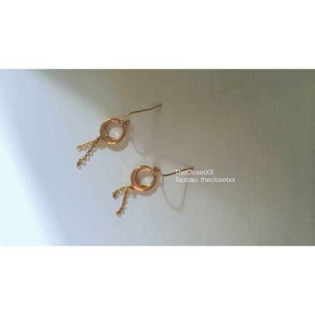 Moon Circle And Chain Earrings