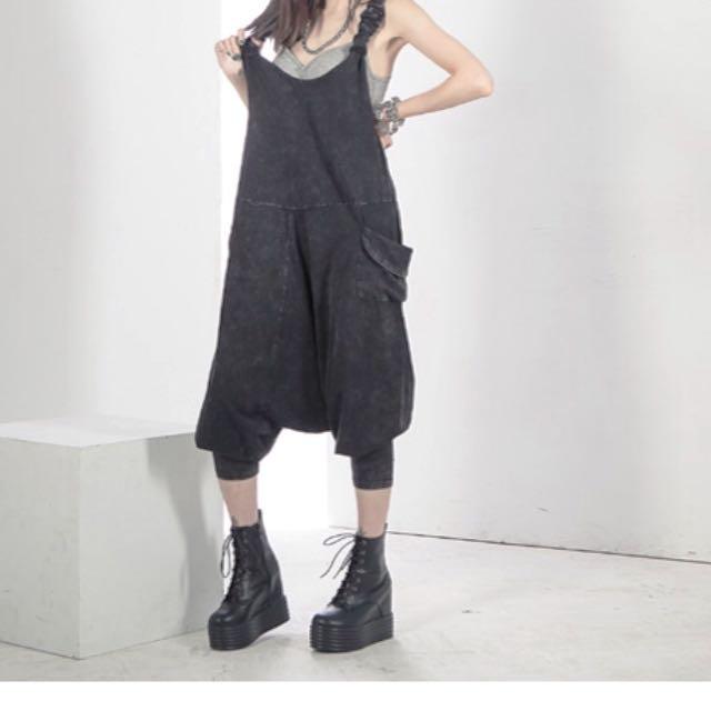 MyOrange.時尚柳丁~水洗棉側口袋 飛鼠吊帶褲