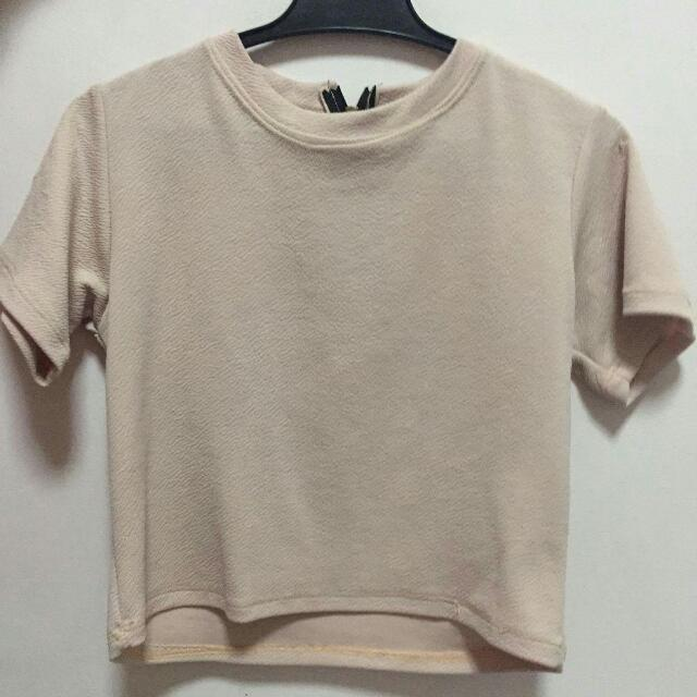 Nude Color Semi Crop Top