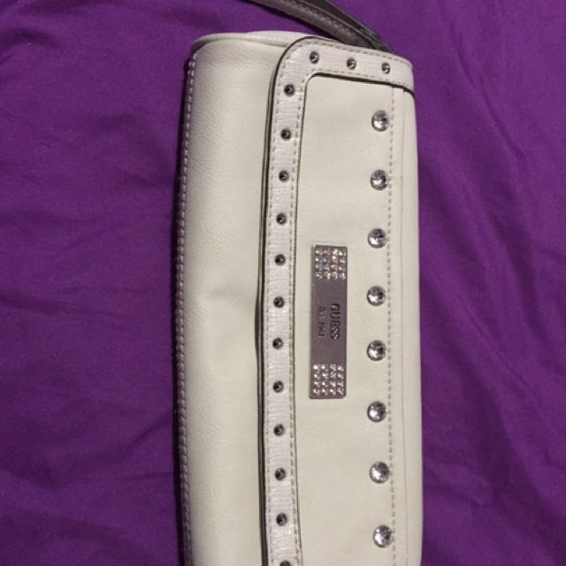 Off White GUESS Leather Long Wristlet