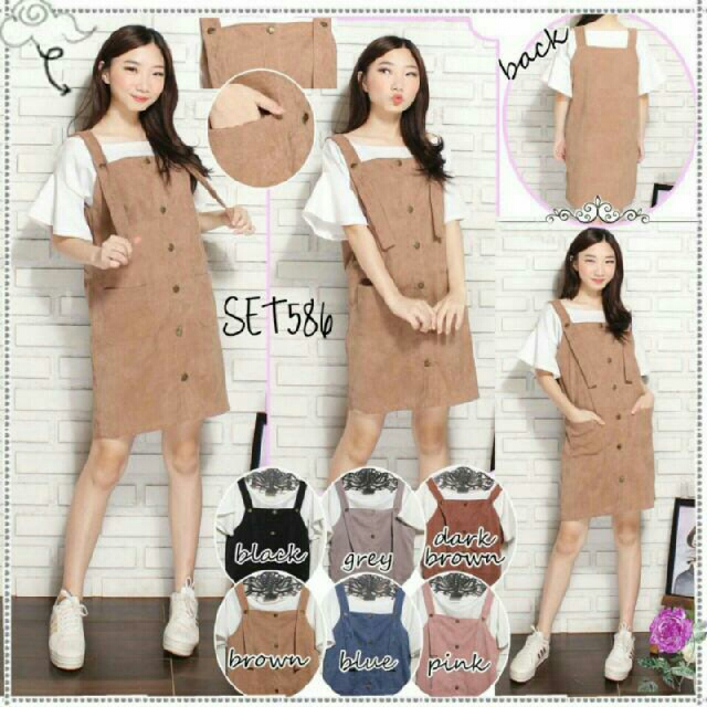 Overall Sabrina Pinafore Dress Baju Kodok