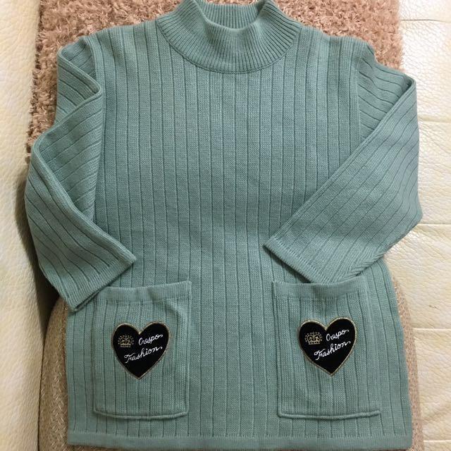 Oversize 淺綠色雙口袋毛衣 Made In Japan