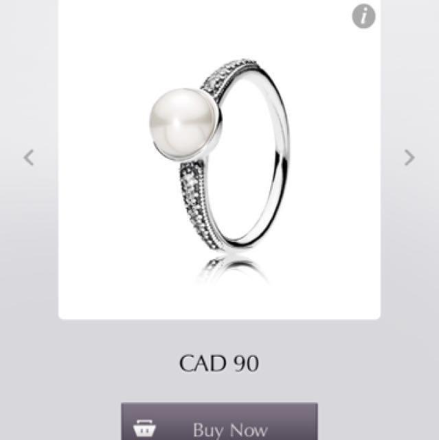 PANDORA Elegant Beauty White Pearl Ring