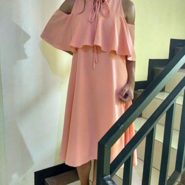 Peach Sabrina Dress