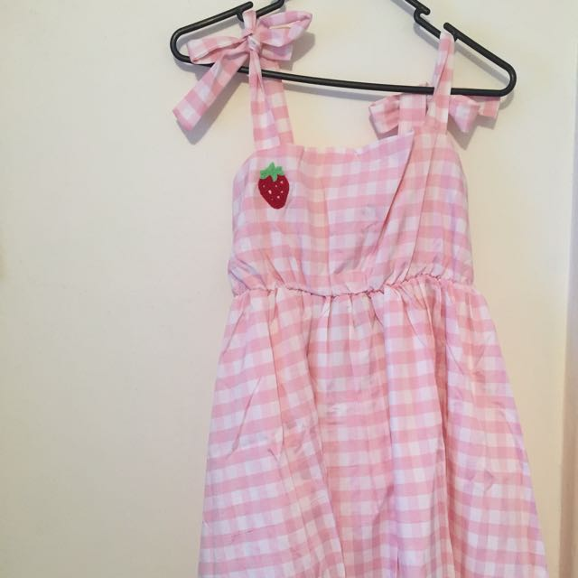 Pink gingham strawberry embroidery dress