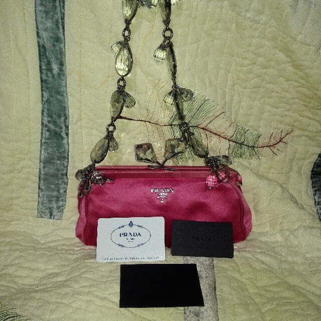 PRADA Fuchsia Crystal Kiss Lock Clutch