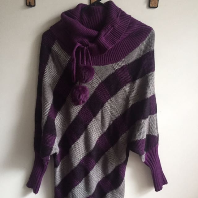 Purple Grey Striped Knit