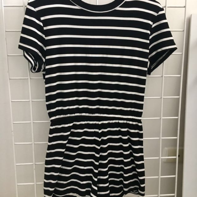 Striped Tight Fitting Playsuit - Size M
