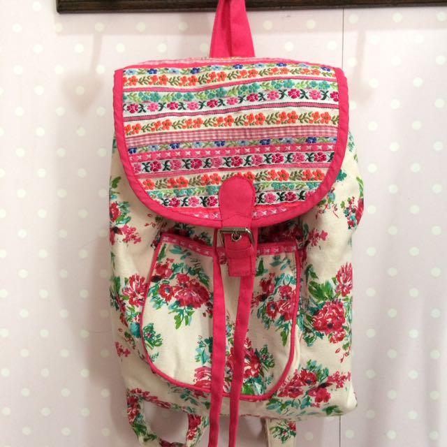 summer floral pink mini backpack