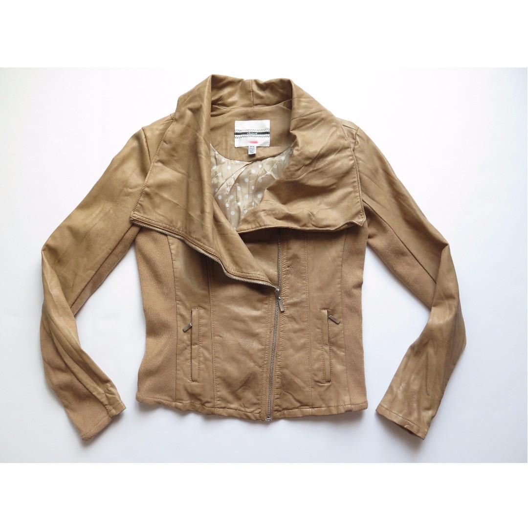 Tan Brown Faux Leather Moto Jacket Sz M