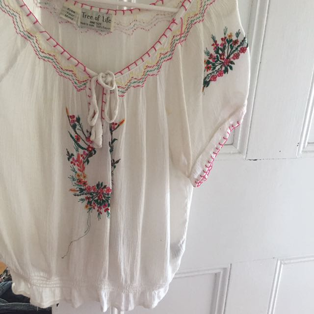 Tree of life one size short sleeve blouse hippie