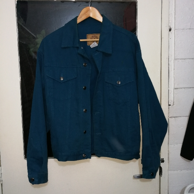 vintage teal denim jacket RARE!
