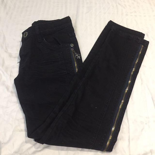 Warm zipper jeans