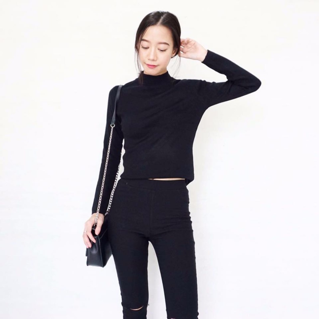 Wild Creature Mock Neck Long Sleeved Ribbed Top in Black