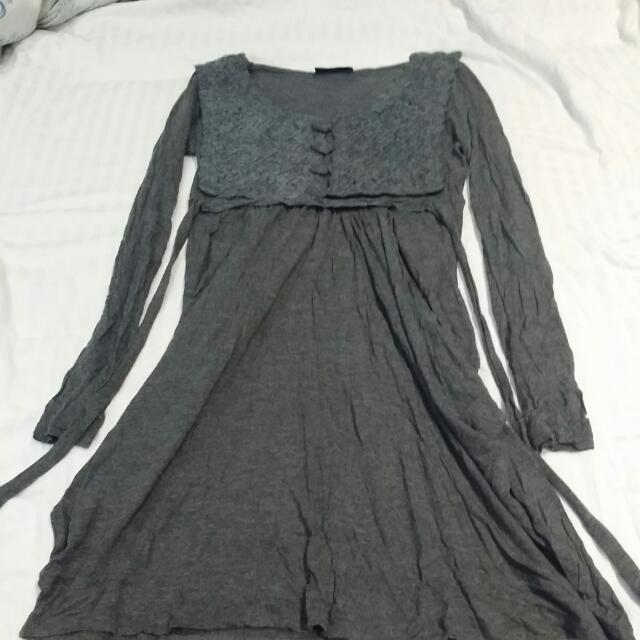 Wool Crochet Grey Dress