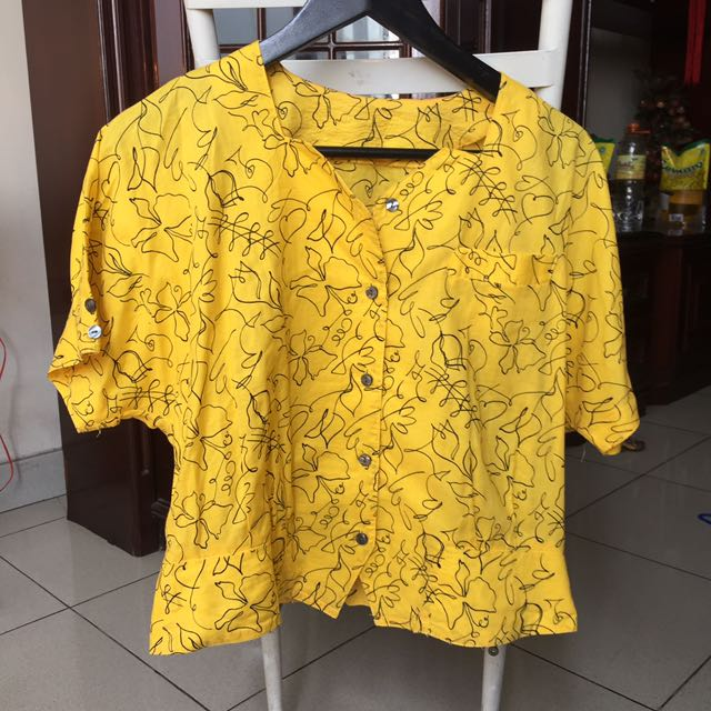 Yellow blouse crop top