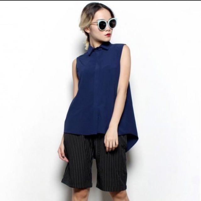 YHF Get Going Navy Button Down Top Sleeveless