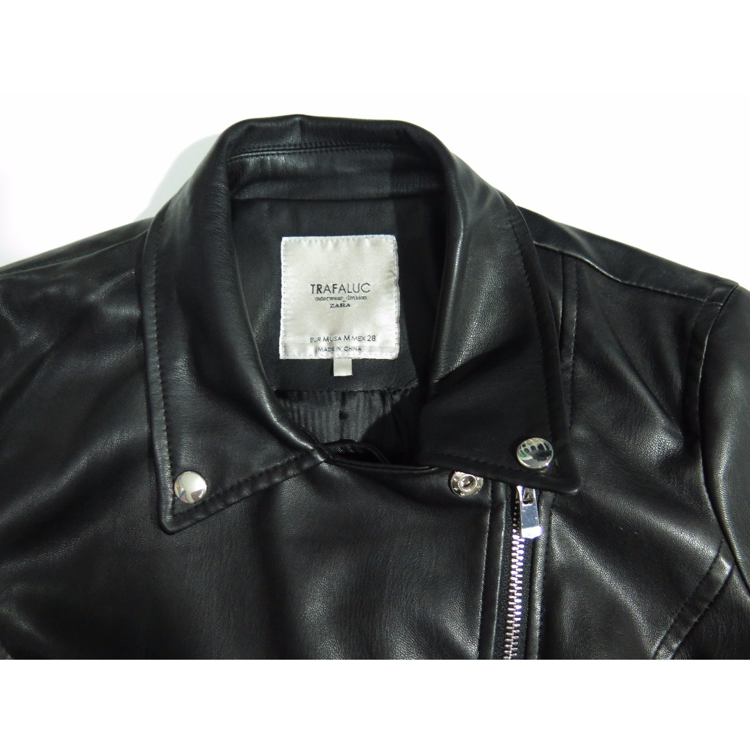 Zara Faux Leather Black Moto Jacket Sz M