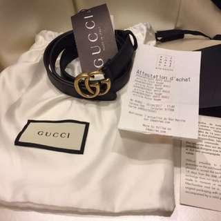 Gucci 皮帶 細版 尺寸80 全新 不議價