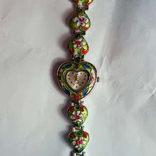 💚 心心錶帶景泰藍錶 Gorgeous oriental style heart shape strap chinese cloisonne watch for ladies 2