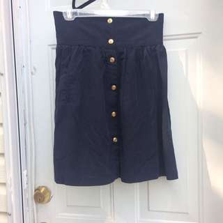 Size S Navy Button-Up Skirt