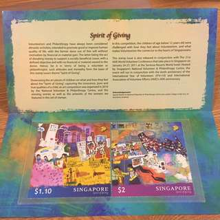 全新 特大郵票 新加坡 spirit of giving 紀念郵票套摺