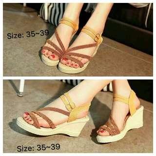 Braided Strappy Wedge Sandals