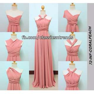 FREE SHIPPING! Bridesmaid Infinity Dress in Coral Peach