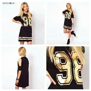 Gold Print Cold Shoulder Dress