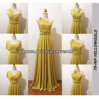 FREE SHIPPING! Bridesmaid Infinity Dress in Yellow Gold