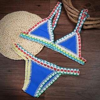 blue Brazilian crochet bikini set