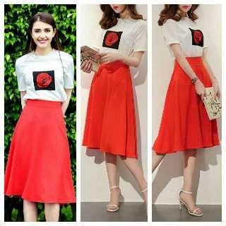 Print Top and Skirt Terno