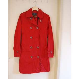 Red Sportscraft Trench Coat Size 8