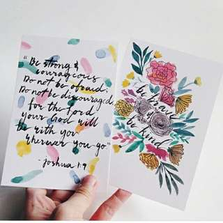 Customised Watercolour Calligraphy Cards