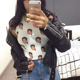 Rihanna print fitted crop top