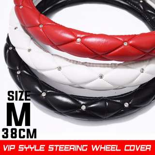 Ready Stock. Size M Top Quality Steering Wheel Covers in Black, Red or White. VIP style with Embedded Crystals!