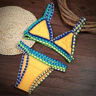 yellow Brazilian crochet bikini set