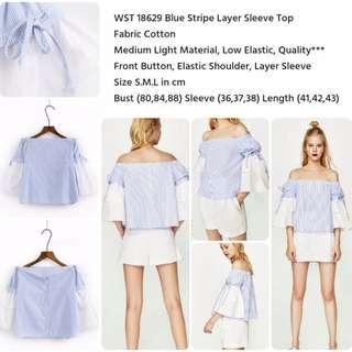 Blue Stripe Layer Sleeve Top