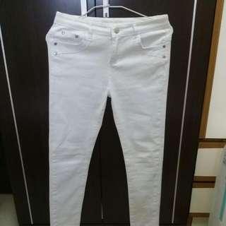 白色牛仔長褲