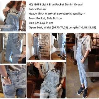 Light Blue Pocket Denim Overall
