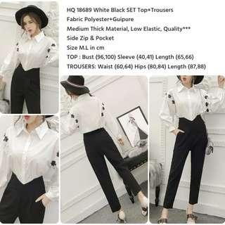 White Black SET Top+Trousers