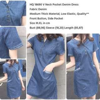 V Neck Pocket Denim Dress