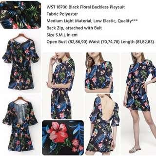 Black Floral Backless Playsuit