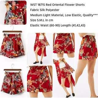 Red Oriental Flower Shorts
