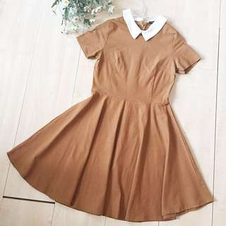 Lookboutique Collar Dress (Brown)