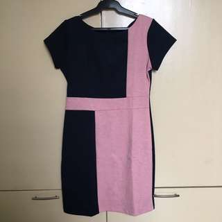 Pink and Navy Blue Dress