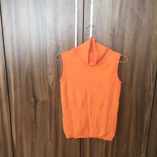 Orange turtle neck sleeveless